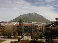 View of the rock of Martos from the Manuel Carrasco park. Jaen Andalucia